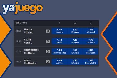 Cuotas deportivas en Yajuego