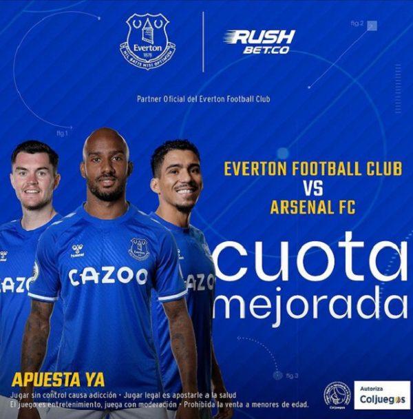 rushbet patrocinador oficial del Everton